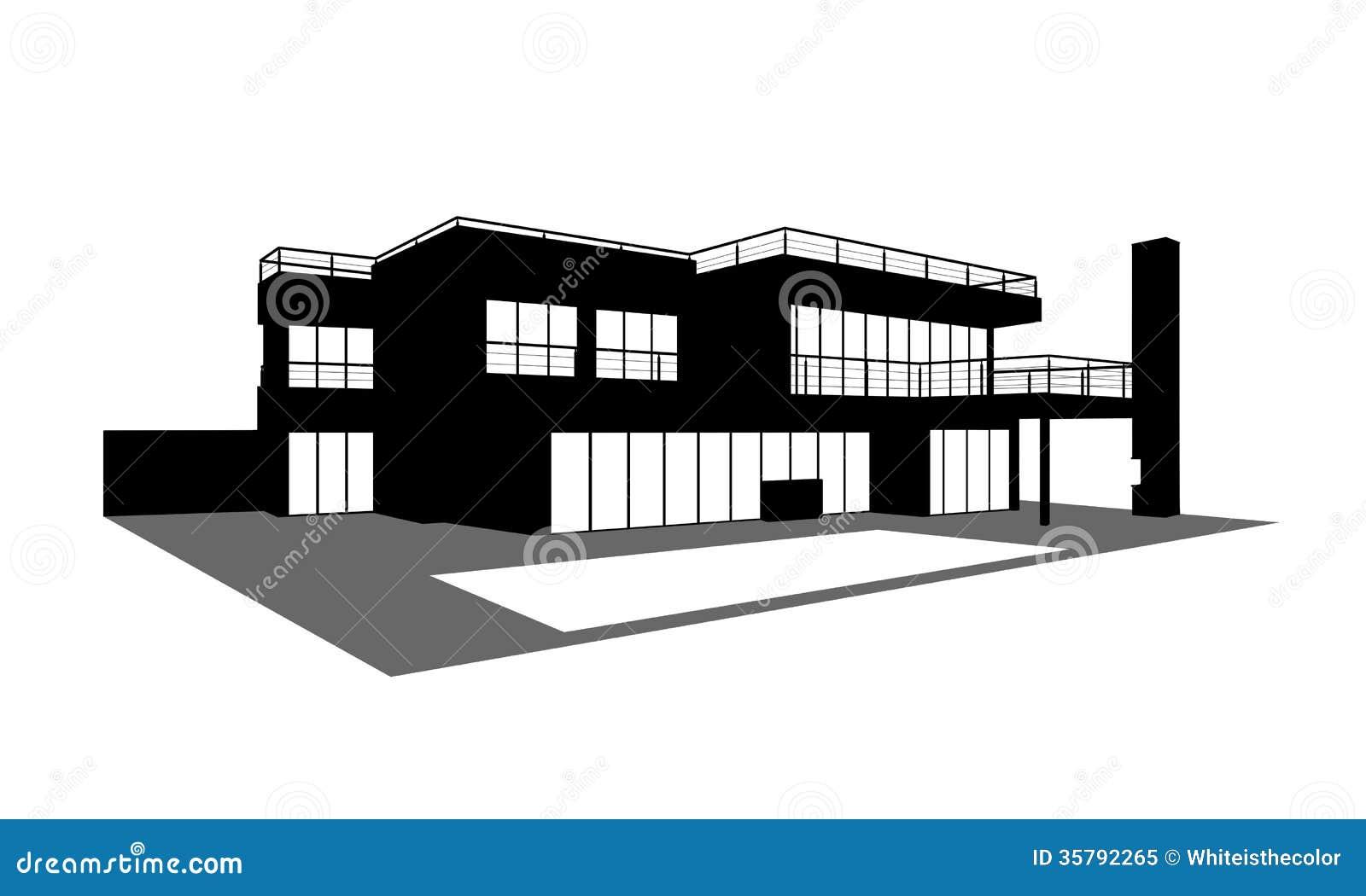 Eigentijds huis met een zwembadsilhouet stock illustratie