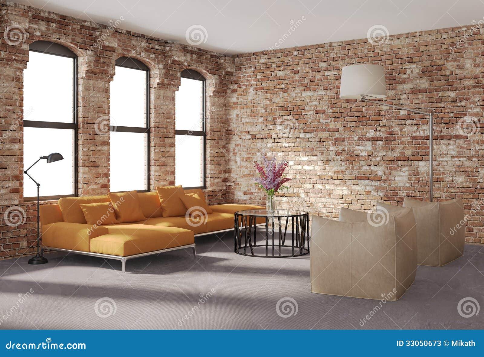 Eigentijds modieus zolderbinnenland bakstenen muren oranje bank stock afbeelding afbeelding - Deco eigentijds ...