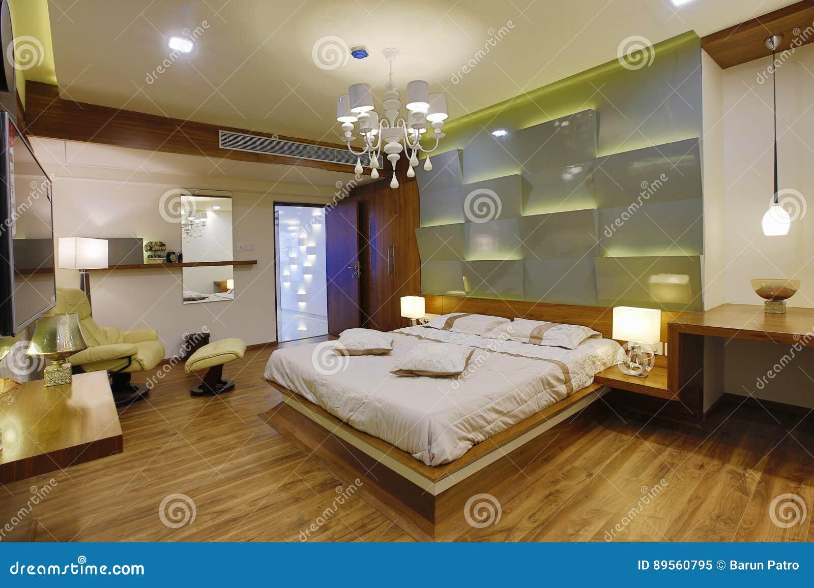 Eigentijds slaapkamerbinnenland stock afbeelding afbeelding