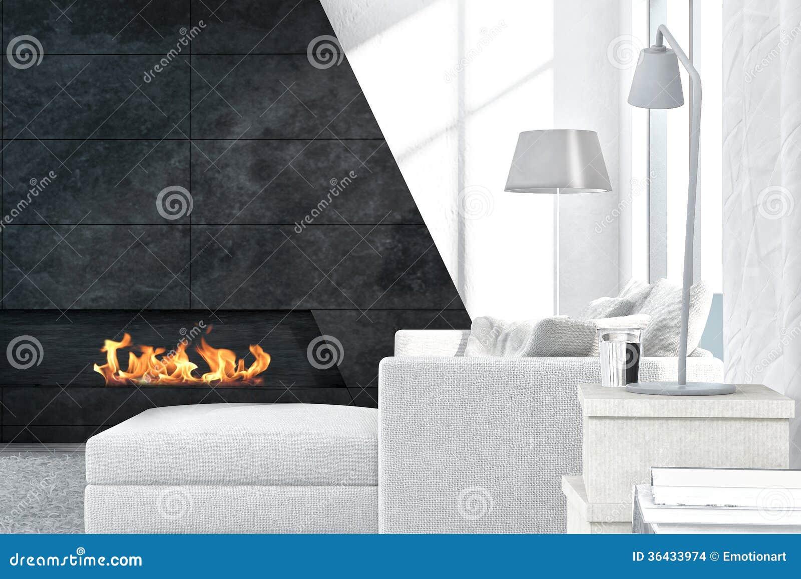 Eigentijds wit woonkamerbinnenland met open haard stock foto