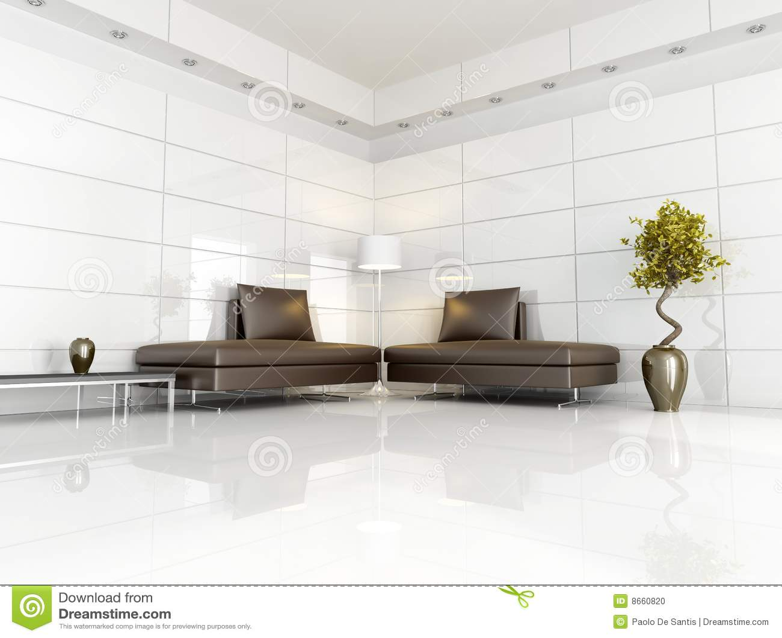 Eigentijdse bruine en witte woonkamer stock foto afbeelding 8660820 - Eigentijdse bank ...