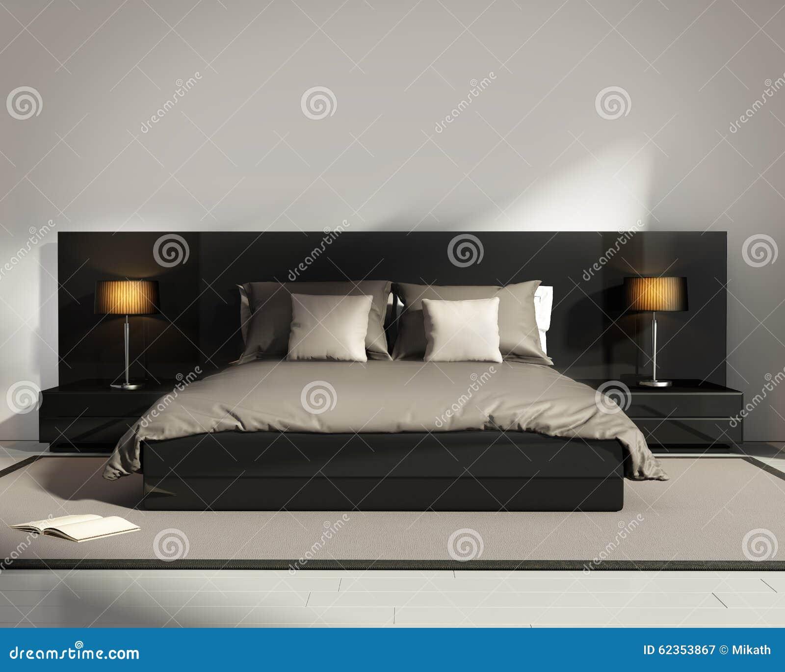 Eigentijdse elegante luxe zwarte slaapkamer stock illustratie afbeelding 62353867 - Eigentijdse slaapkamer ...