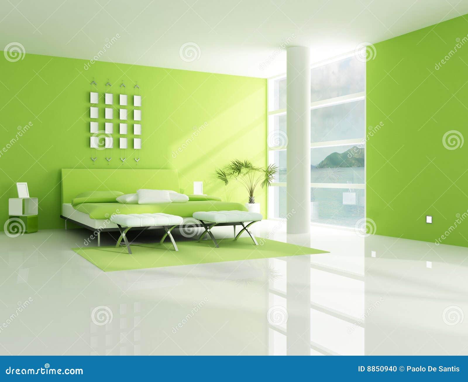 Eigentijdse Groene Slaapkamer Stock Illustratie - Illustratie ...