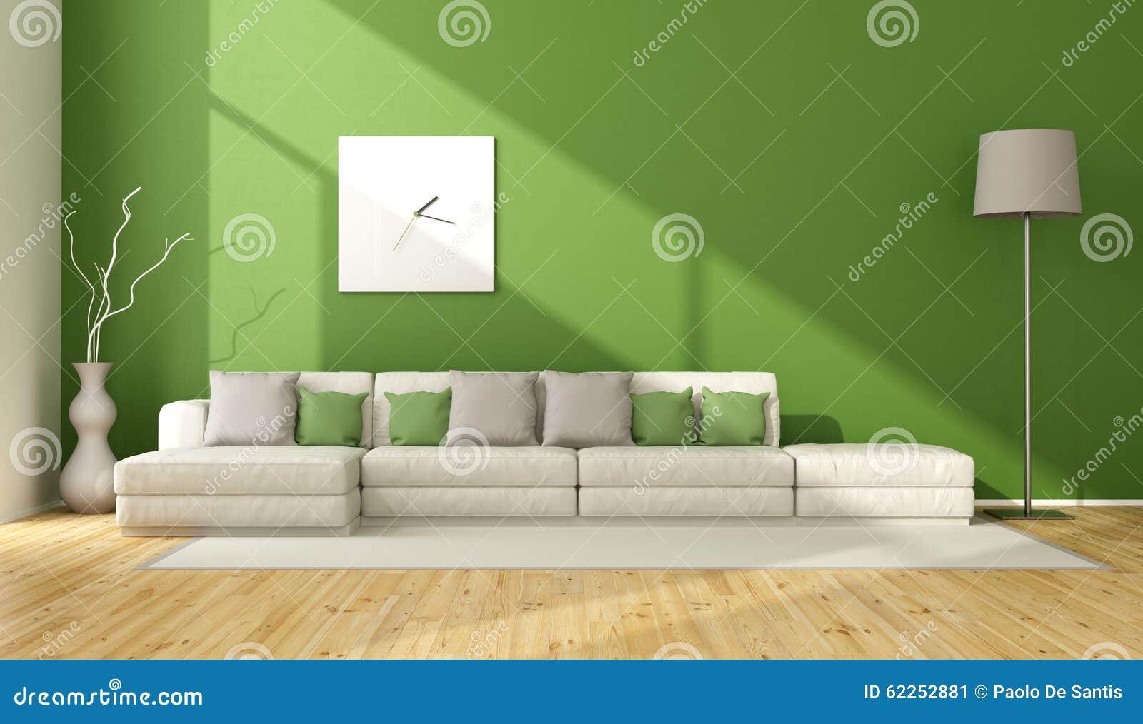 Eigentijdse groene woonkamer stock illustratie afbeelding 62252881 - Eigentijdse bank ...