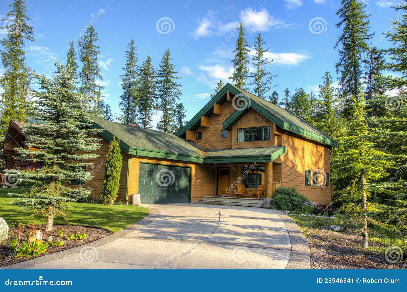 Eigentijdse huizen in skitoevlucht stock afbeelding afbeelding