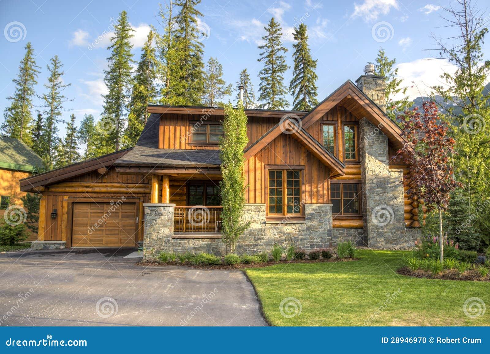Eigentijdse huizen in skitoevlucht stock foto afbeelding