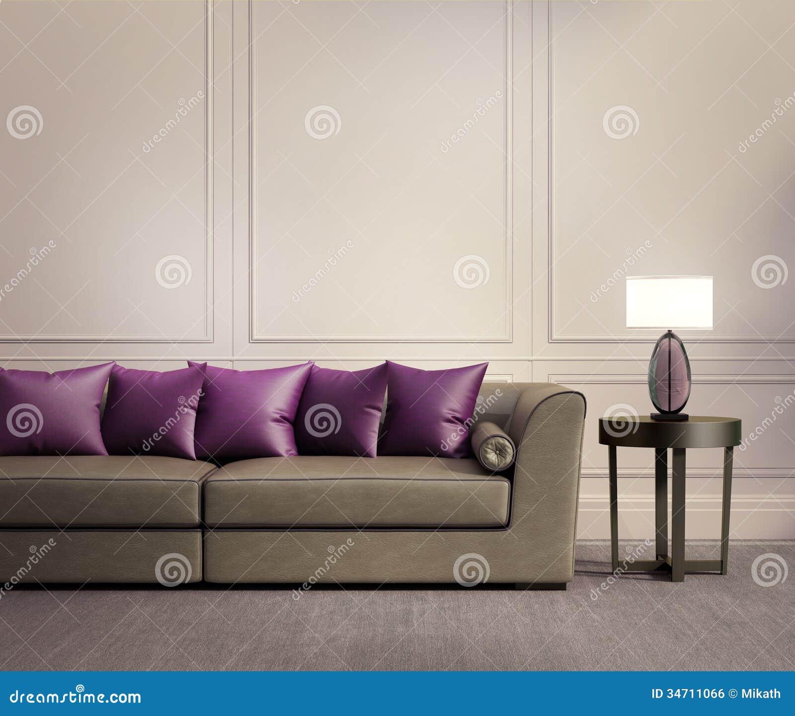 Eigentijdse klassieke woonkamer beige leerbank royalty vrije stock afbeelding afbeelding for Deco woonkamer moderne woonkamer