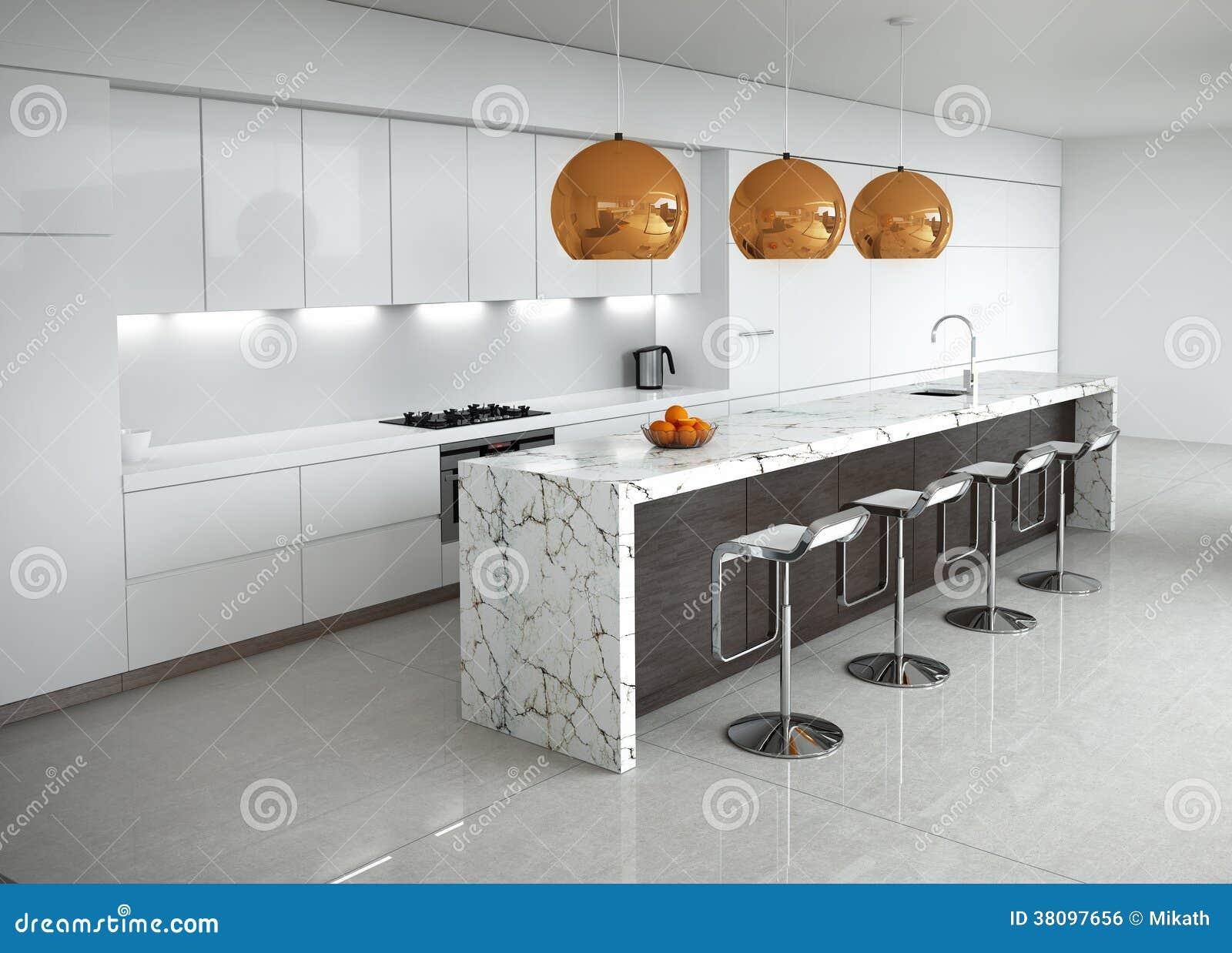 Eigentijdse minimale witte keuken stock illustratie illustratie