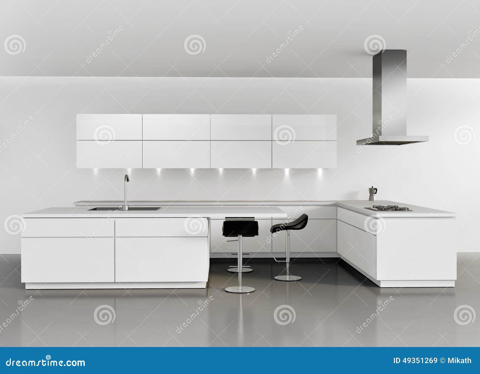 Eigentijdse Minimale Witte Keuken Stock Illustratie - Afbeelding ...