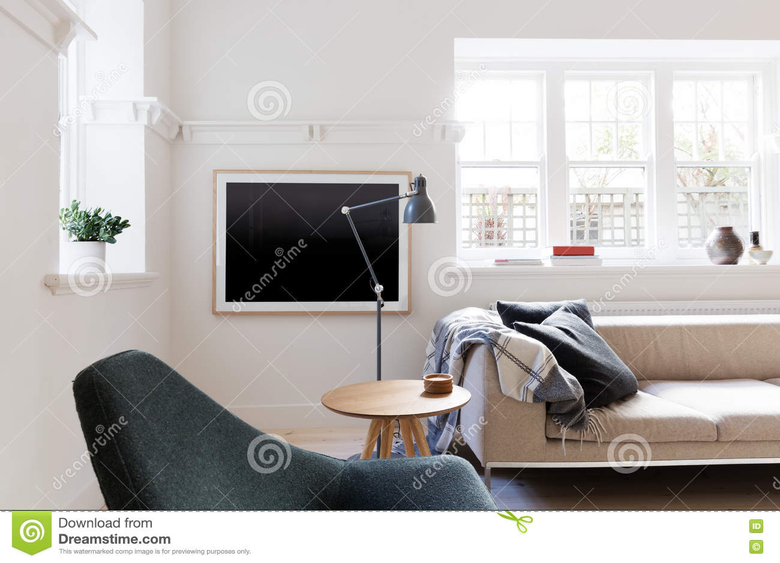 Eigentijdse scandi gestileerde woonkamer in australische flat