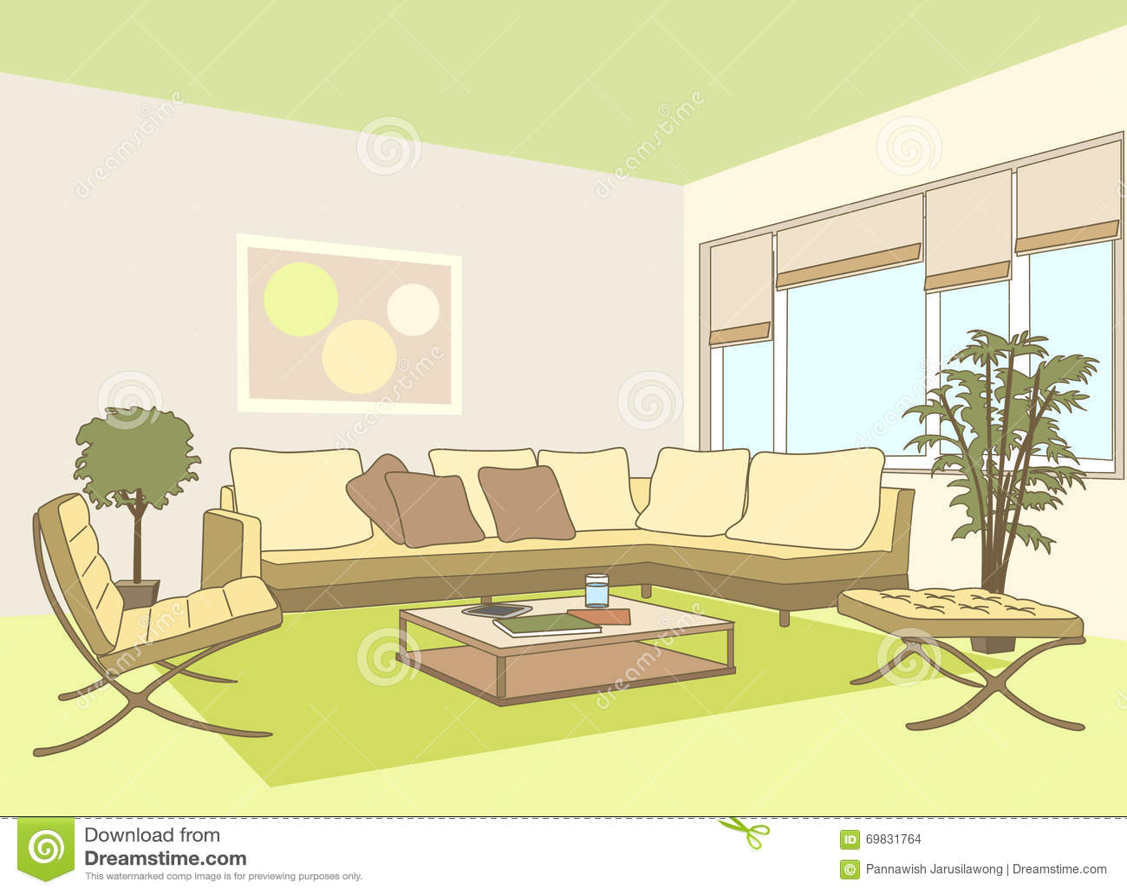 Eigentijdse woonkamer vector illustratie afbeelding 69831764 - Eigentijdse muur ...