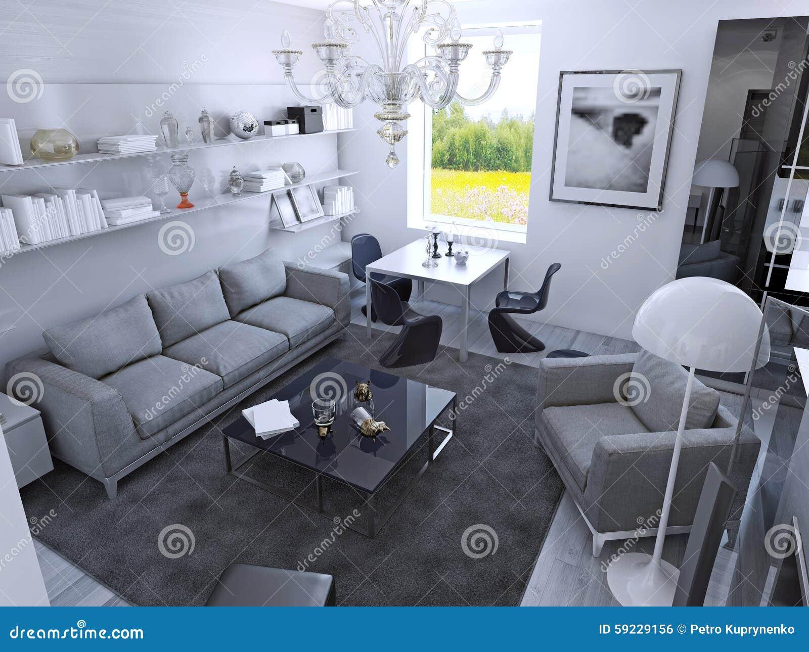 Eigentijdse woonkamer in daglicht stock illustratie illustratie