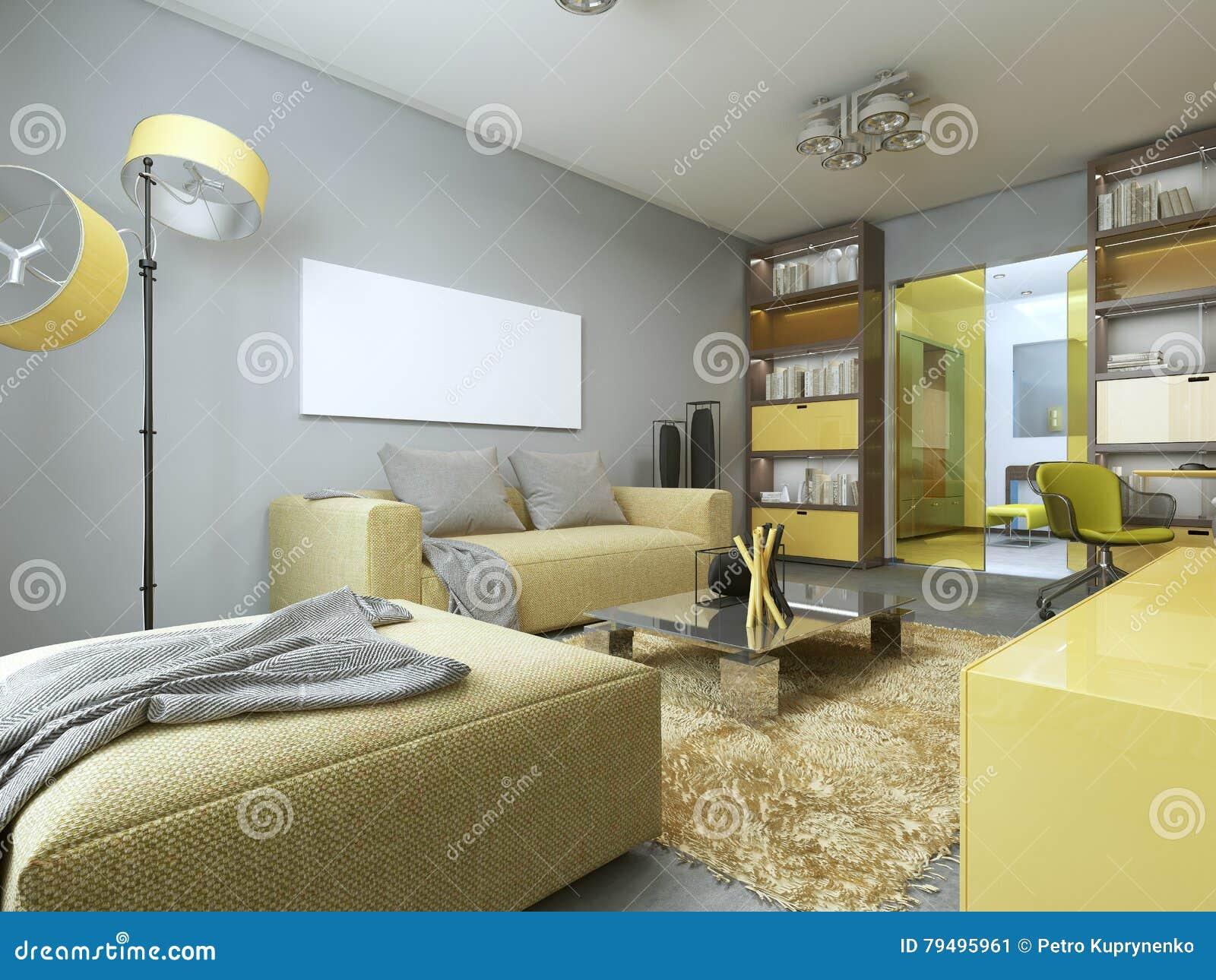 Eigentijdse woonkamer met geel meubilair stock illustratie