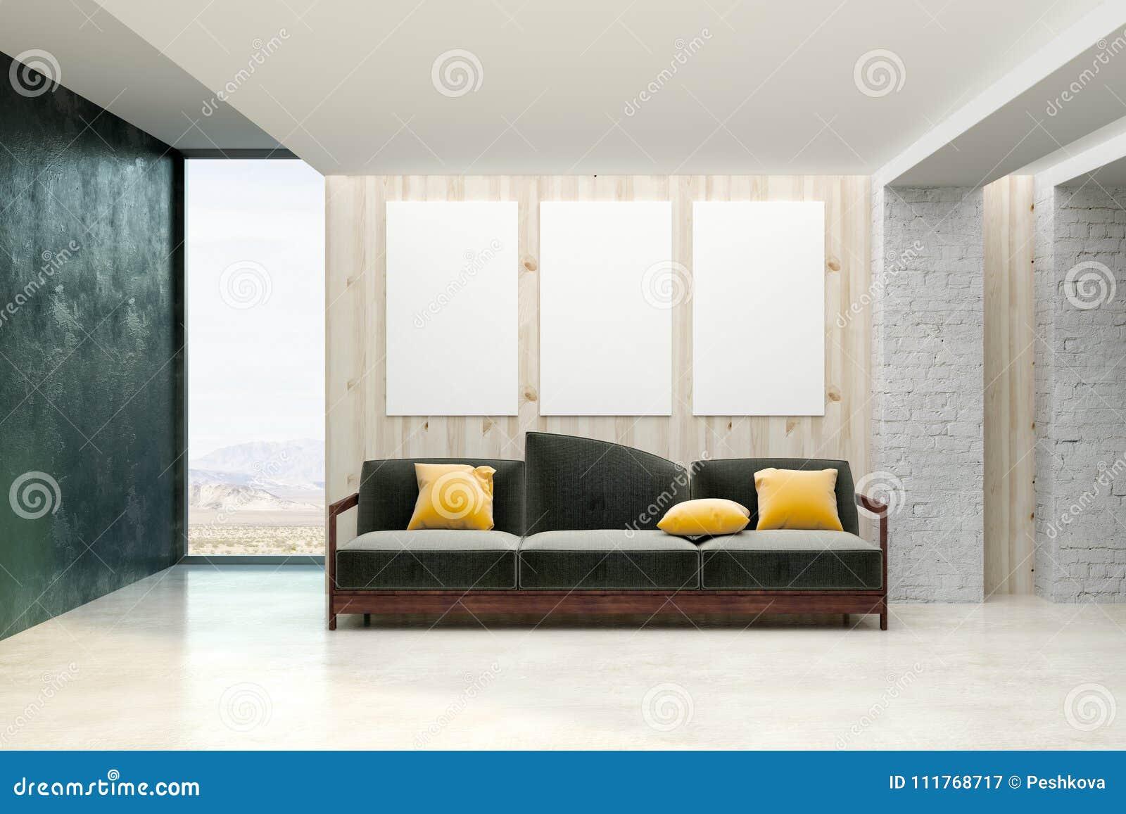 Eigentijdse woonkamer met lege banner stock illustratie