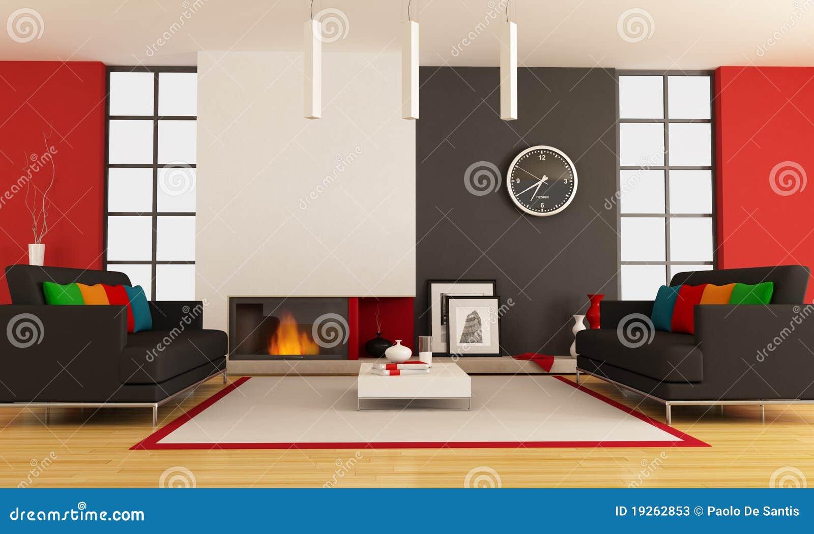 Eigentijdse woonkamer met open haard stock foto 39 s beeld 19262853 - Eigentijdse muur ...