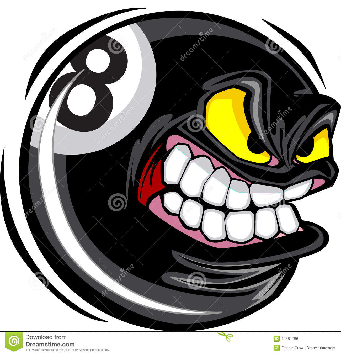 Eight ball face vector image stock vector illustration of balls mean 10361796 - 8 ball pictures ...