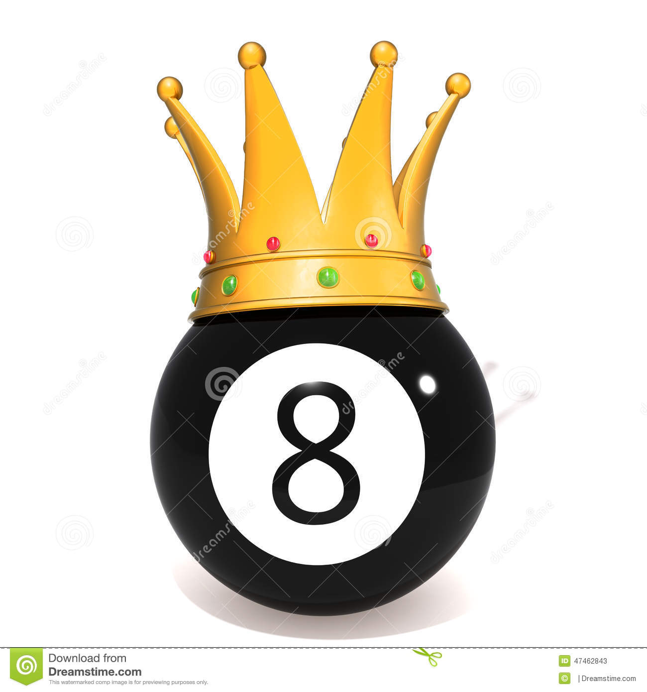 Eight ball with gold crown stock illustration. Image of club - 47462843