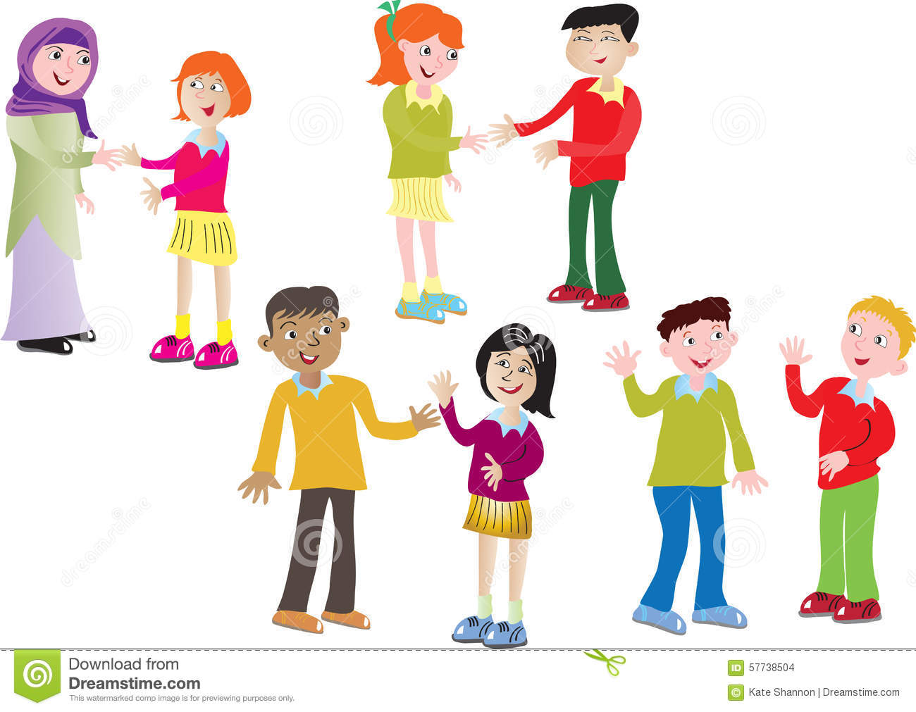 Eight children greeting each other stock vector illustration of eight children greeting each other m4hsunfo