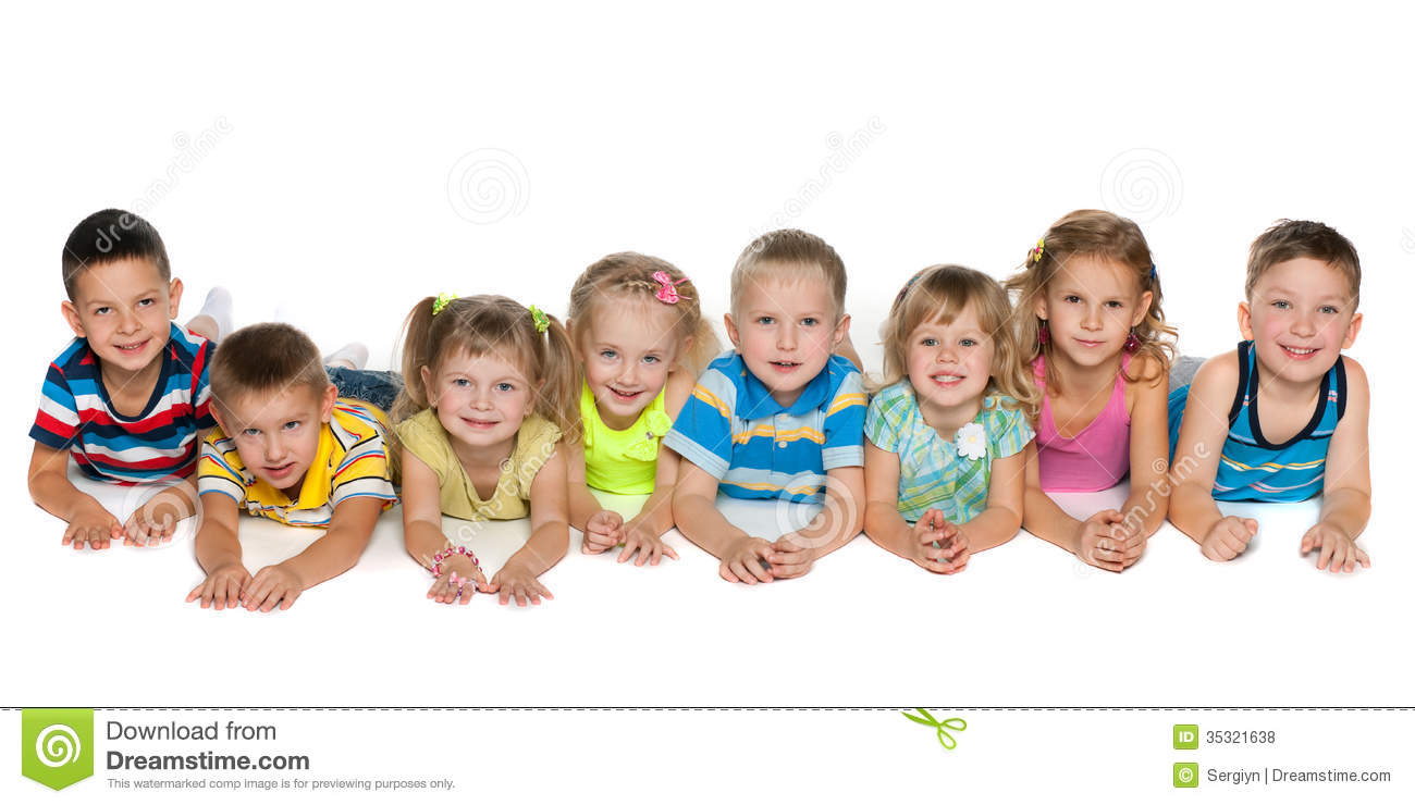 Eight Children Lying On Floor Stock Photo - Image: 35321638