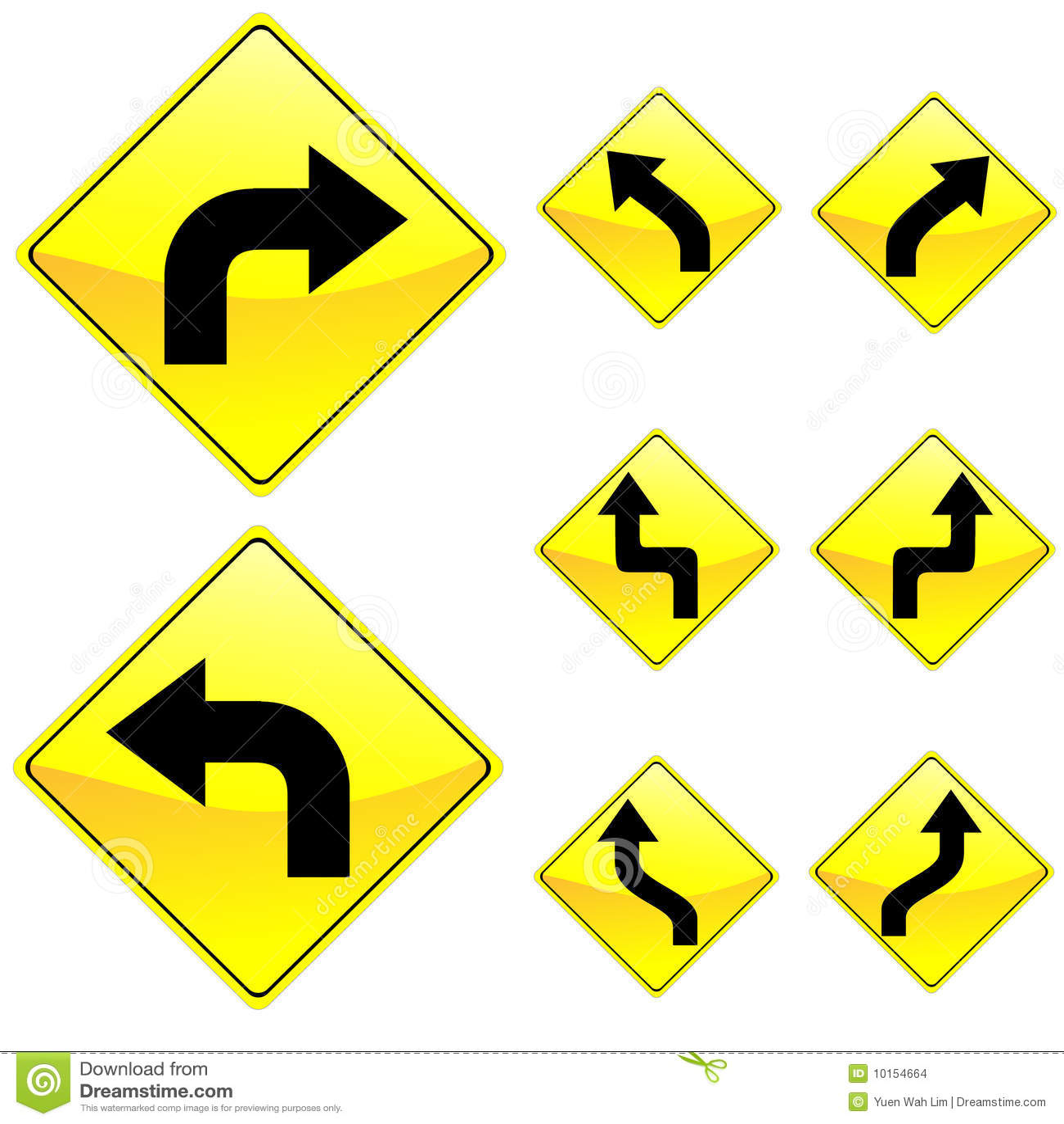 Eight Diamond Shape Yellow Road Signs Stock Vector ...