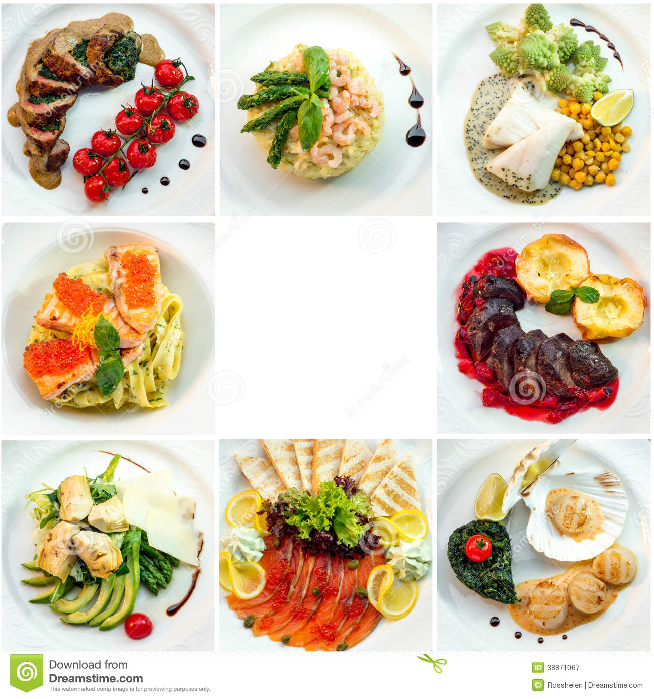 Eight Different Restaurant Dishes Top View Stock Photo