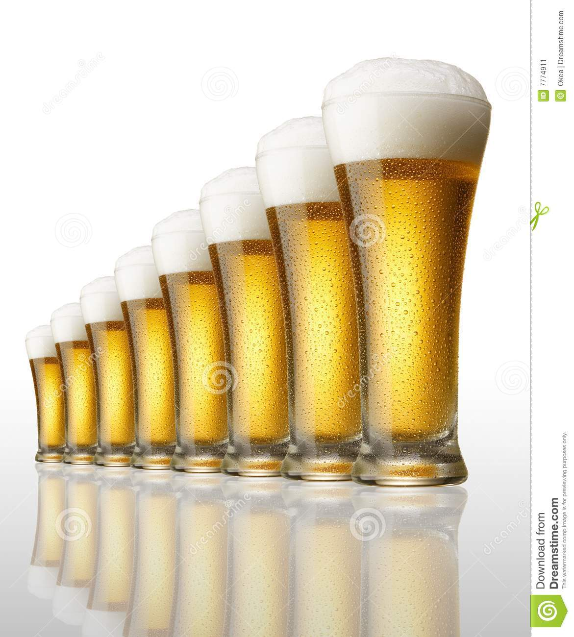 Eight glasses of beer