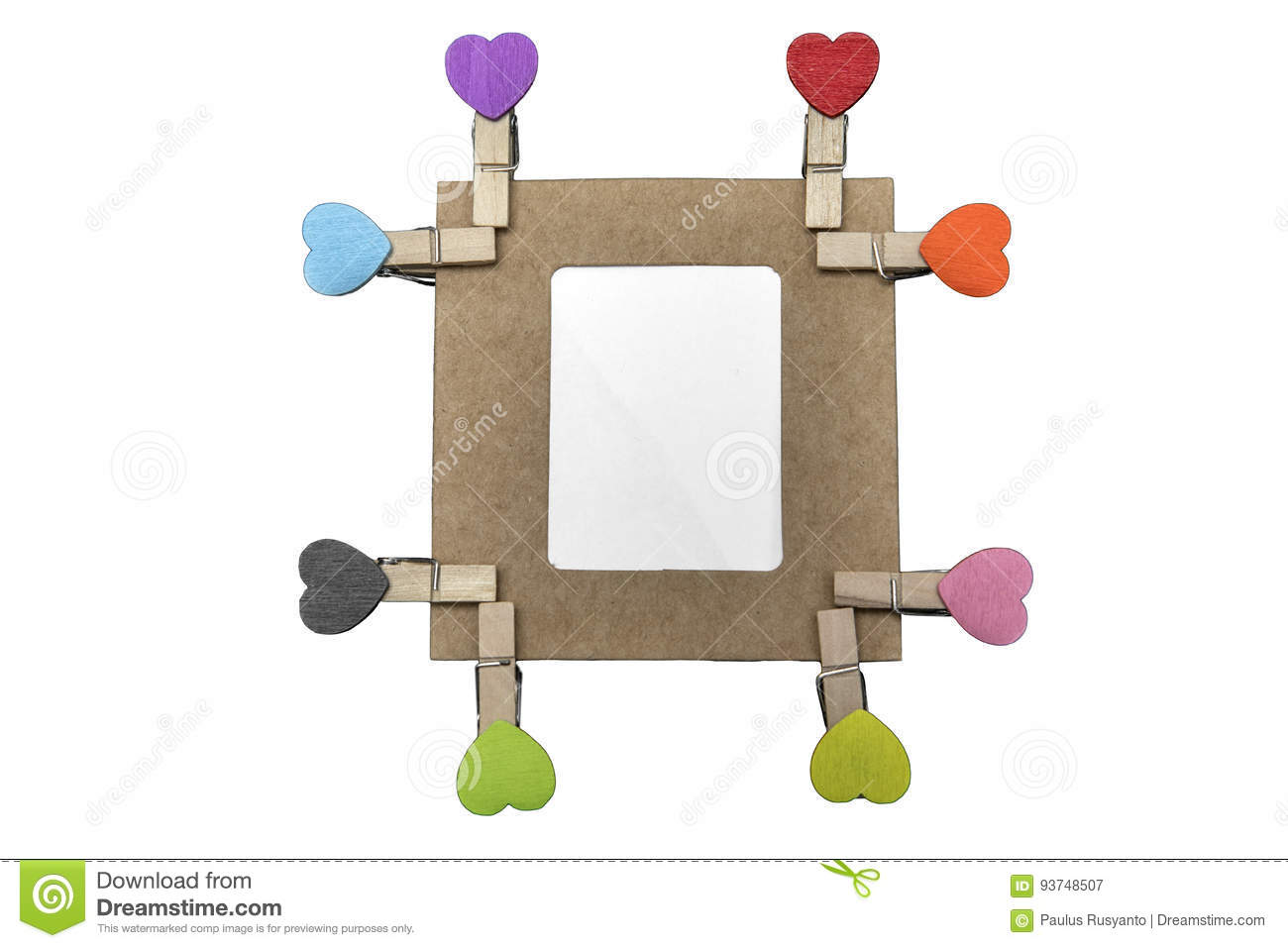 Eight Heart Clips With Cardboard Frame Stock Image - Image of hang ...