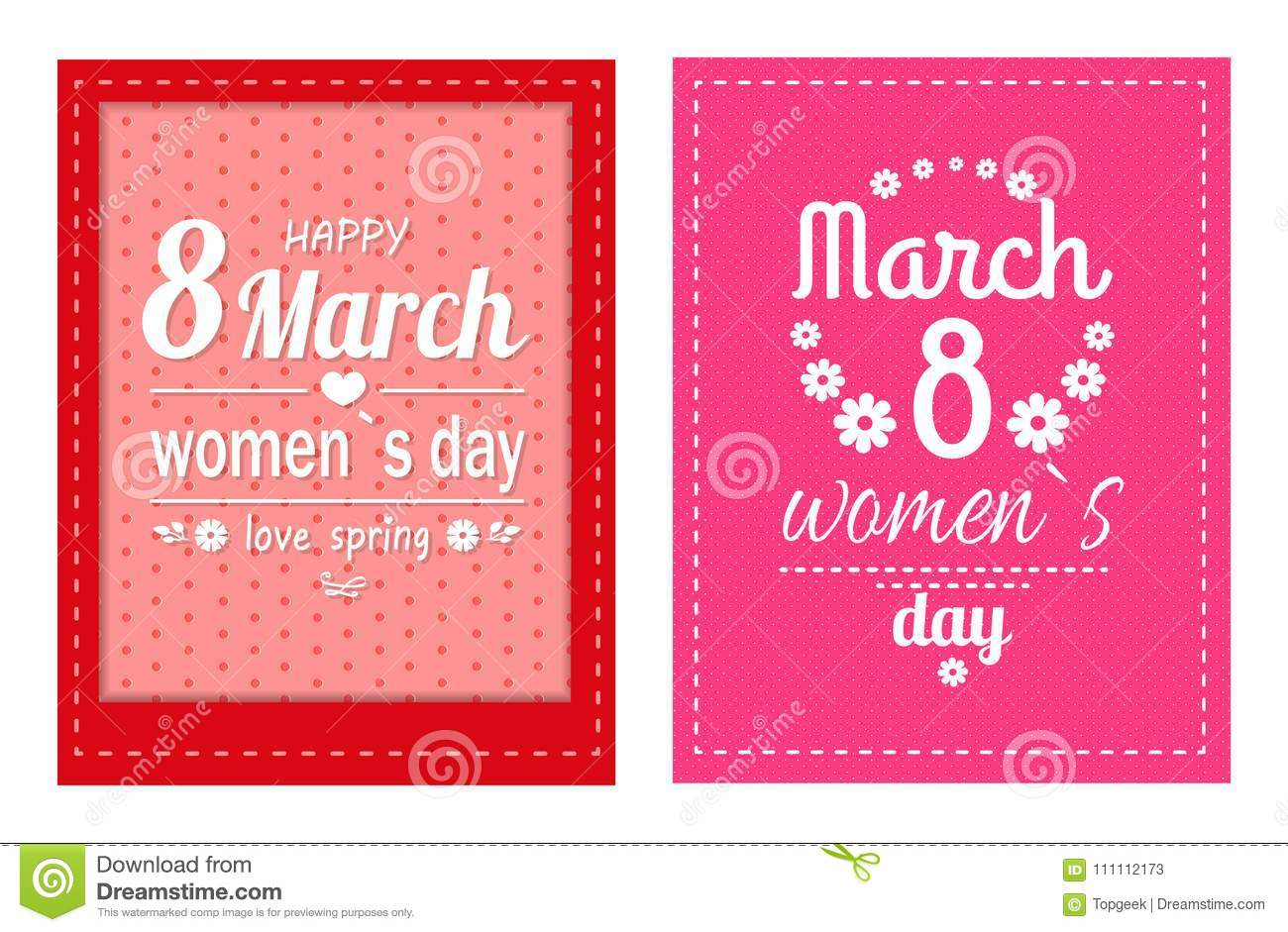 big set of 8 march greeting cards eight number made of flowers best wishes on international women s day vector illustration poster isolated on pink - Big Greeting Cards