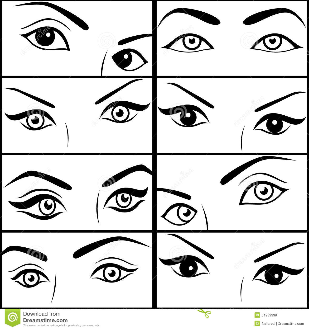 eight pairs of female eyes stock vector illustration of health