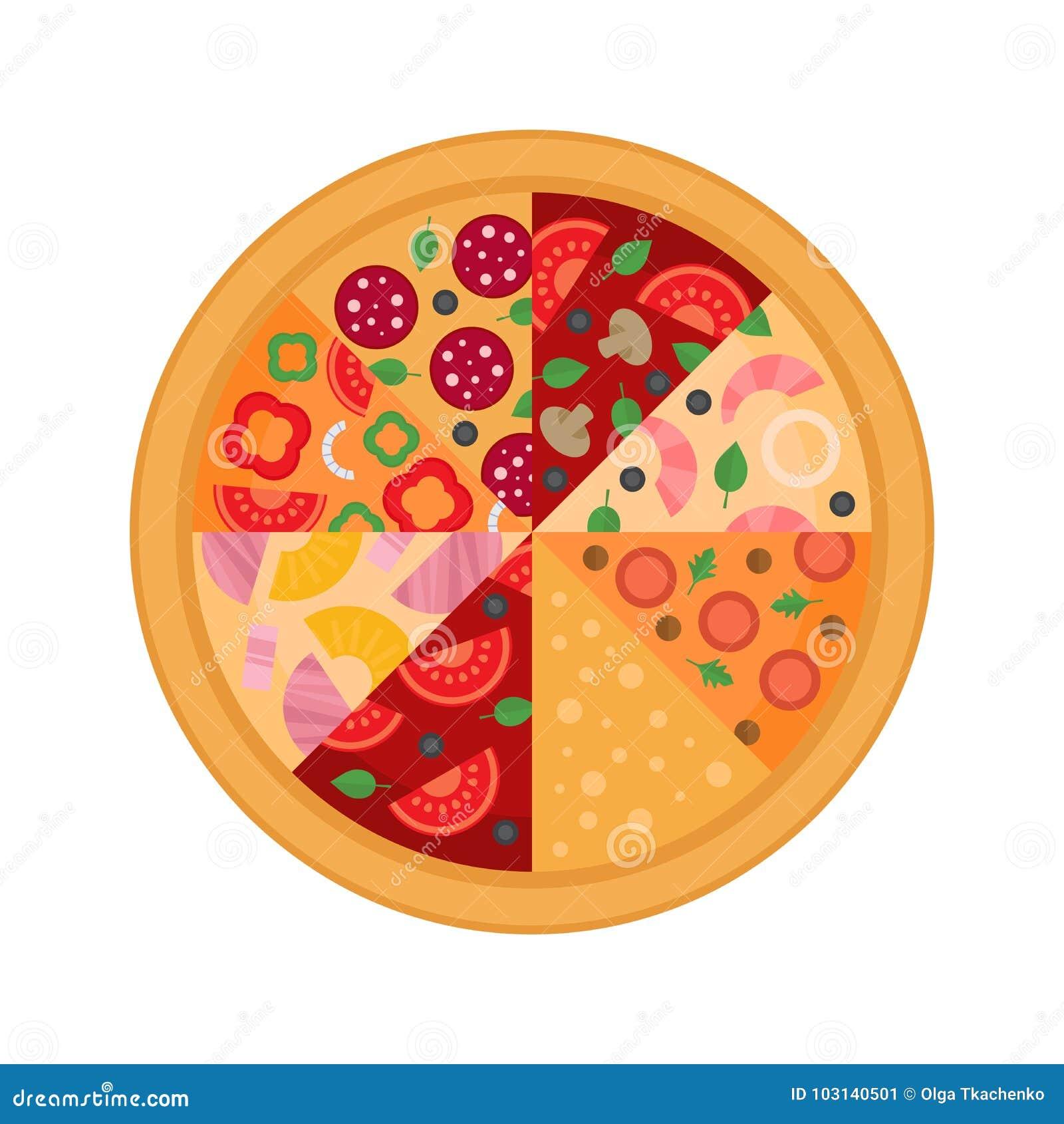Eight pizza slice. Flat design. Vector Illustration.