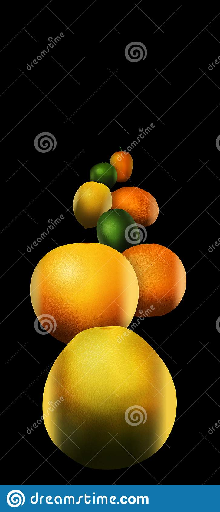 Eight popular citrus fruits are pictured. These include: pomelo