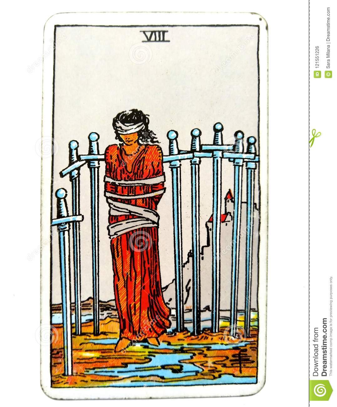 8 Eight Of Swords Tarot Card Restrictions Entrapment