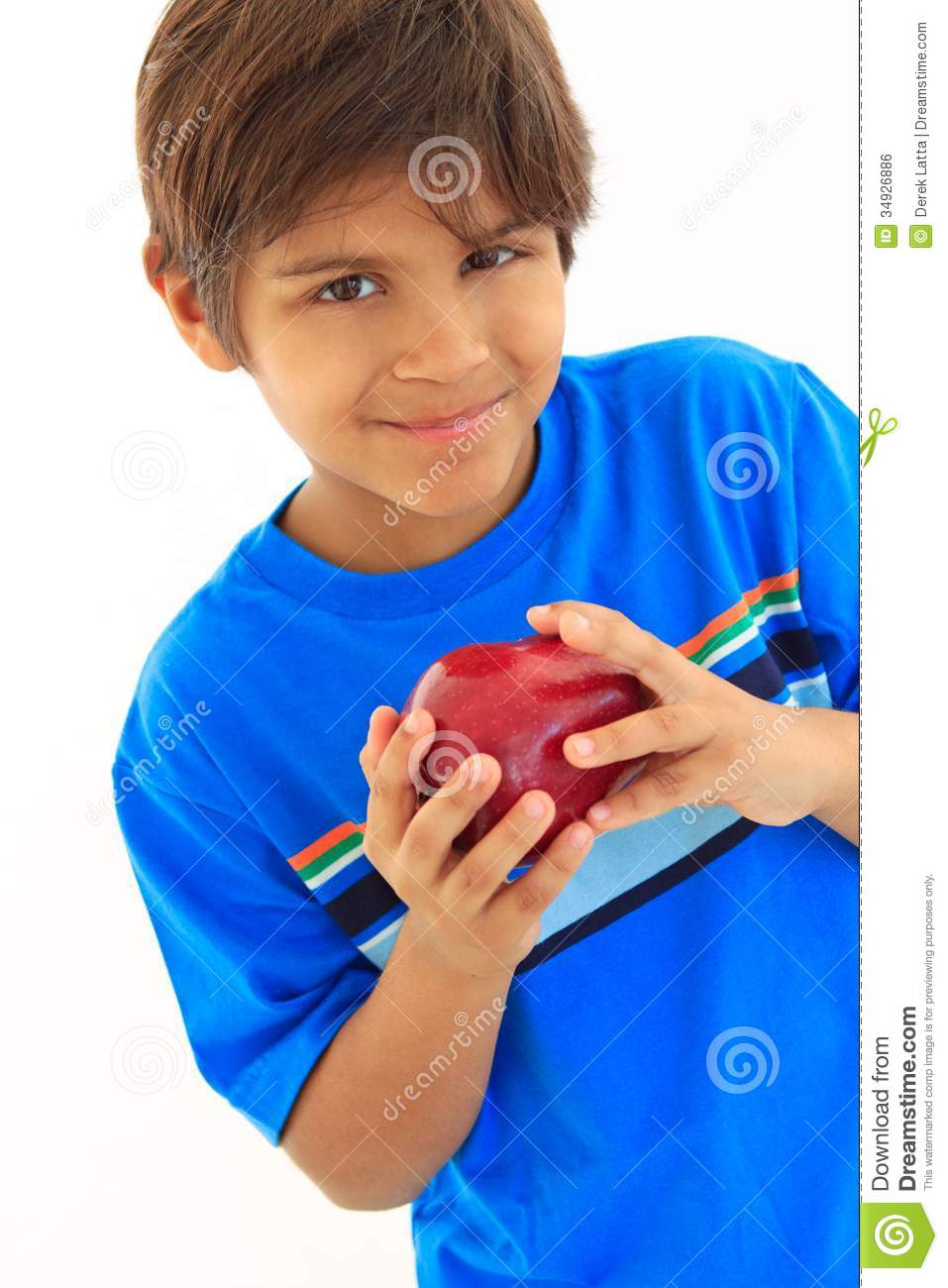 8 Year Boy Bedroom Design: Eight Year Old Boy Holding Red Apple Stock Photo