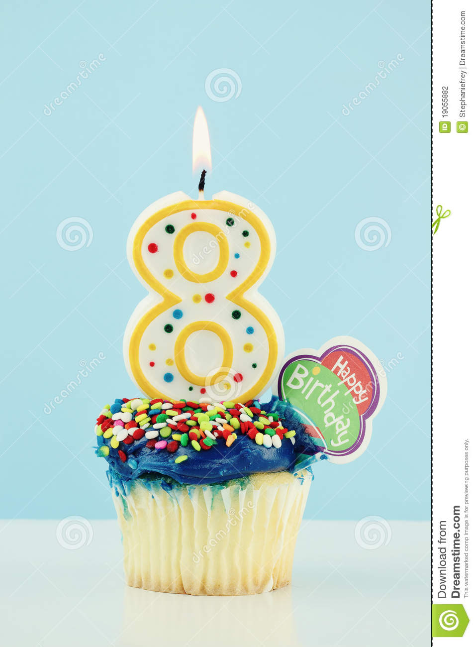 Eighth Birthday Cupcake Stock Photo Image Of Eight