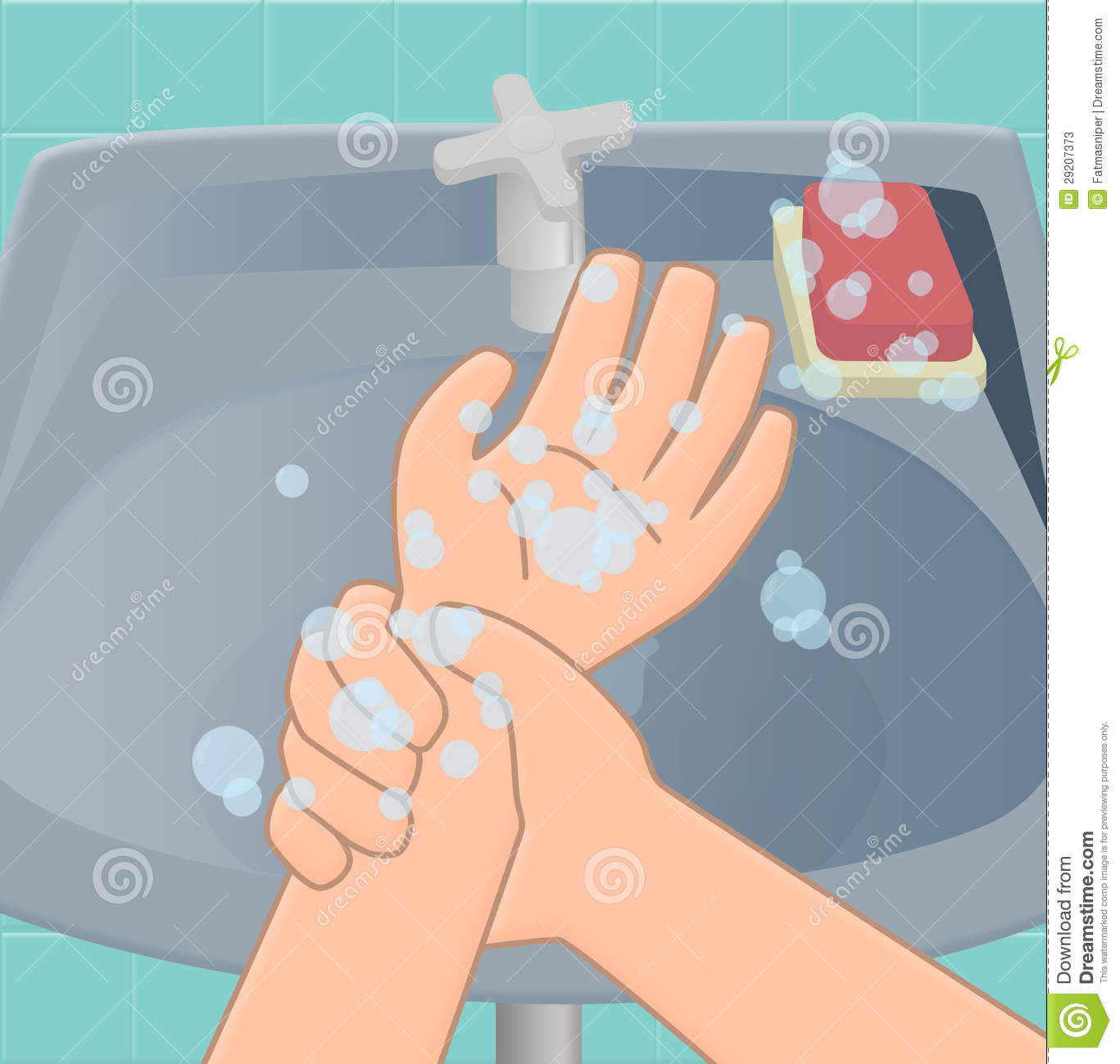 Eighth stage of washing hands