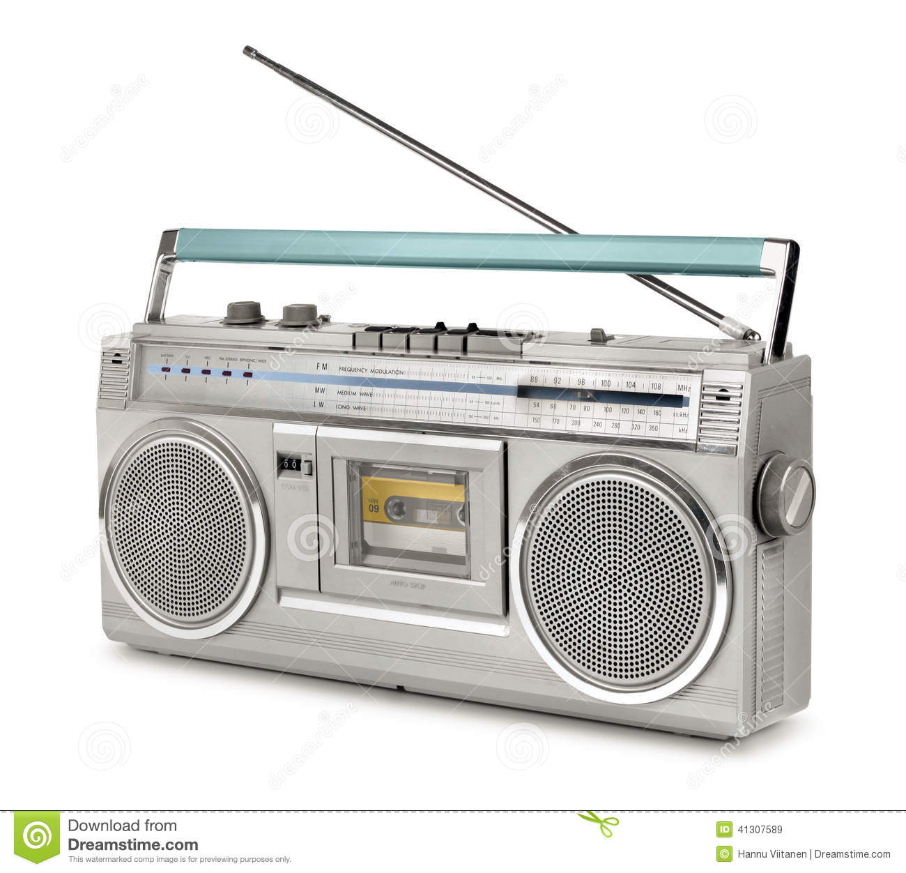 eighties vintage radio cassette player stock image image of isolated speaker 41307589. Black Bedroom Furniture Sets. Home Design Ideas
