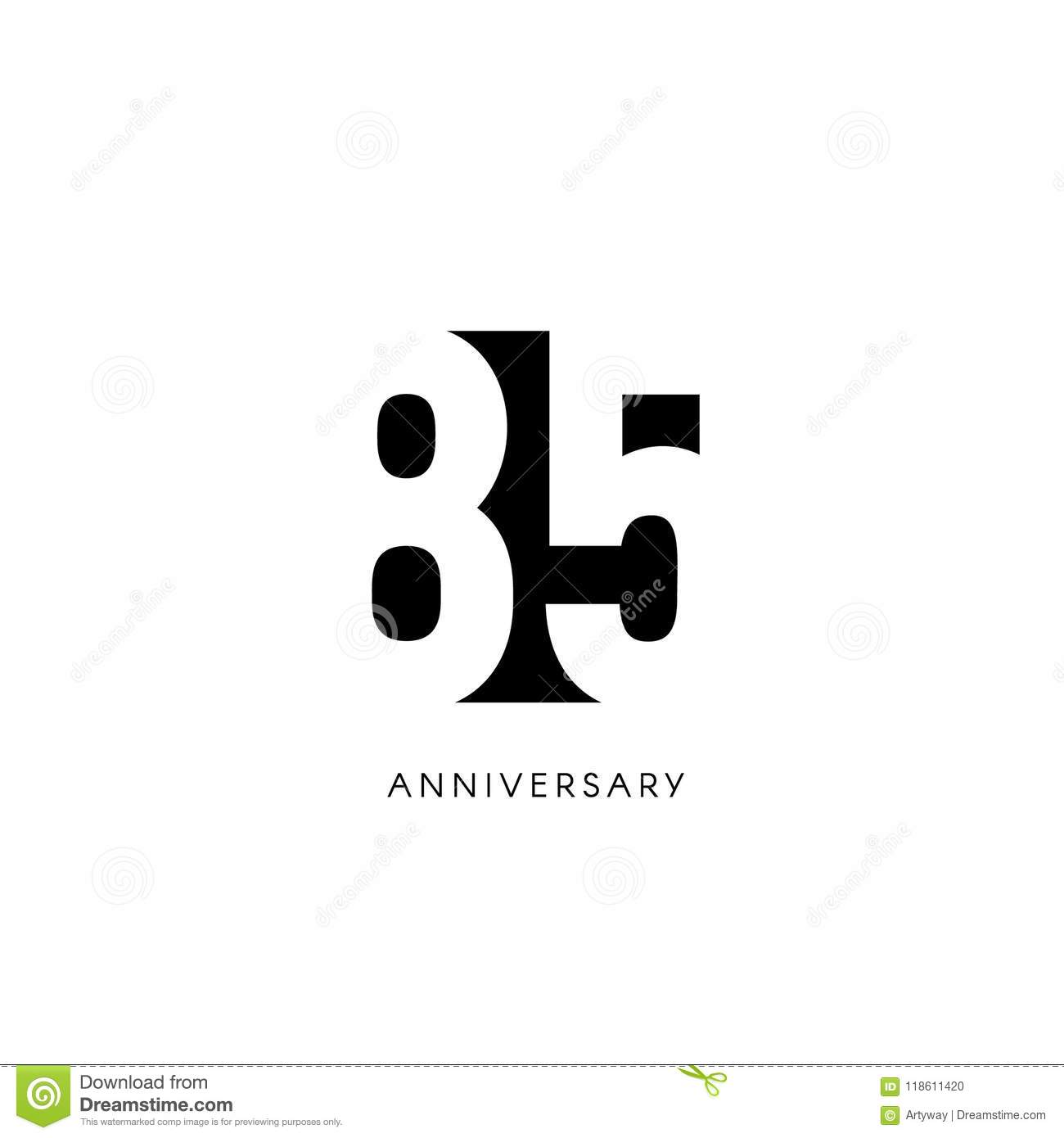 Eighty Five Anniversary, Minimalistic Logo. Eighty-fifth Years, 85th ...