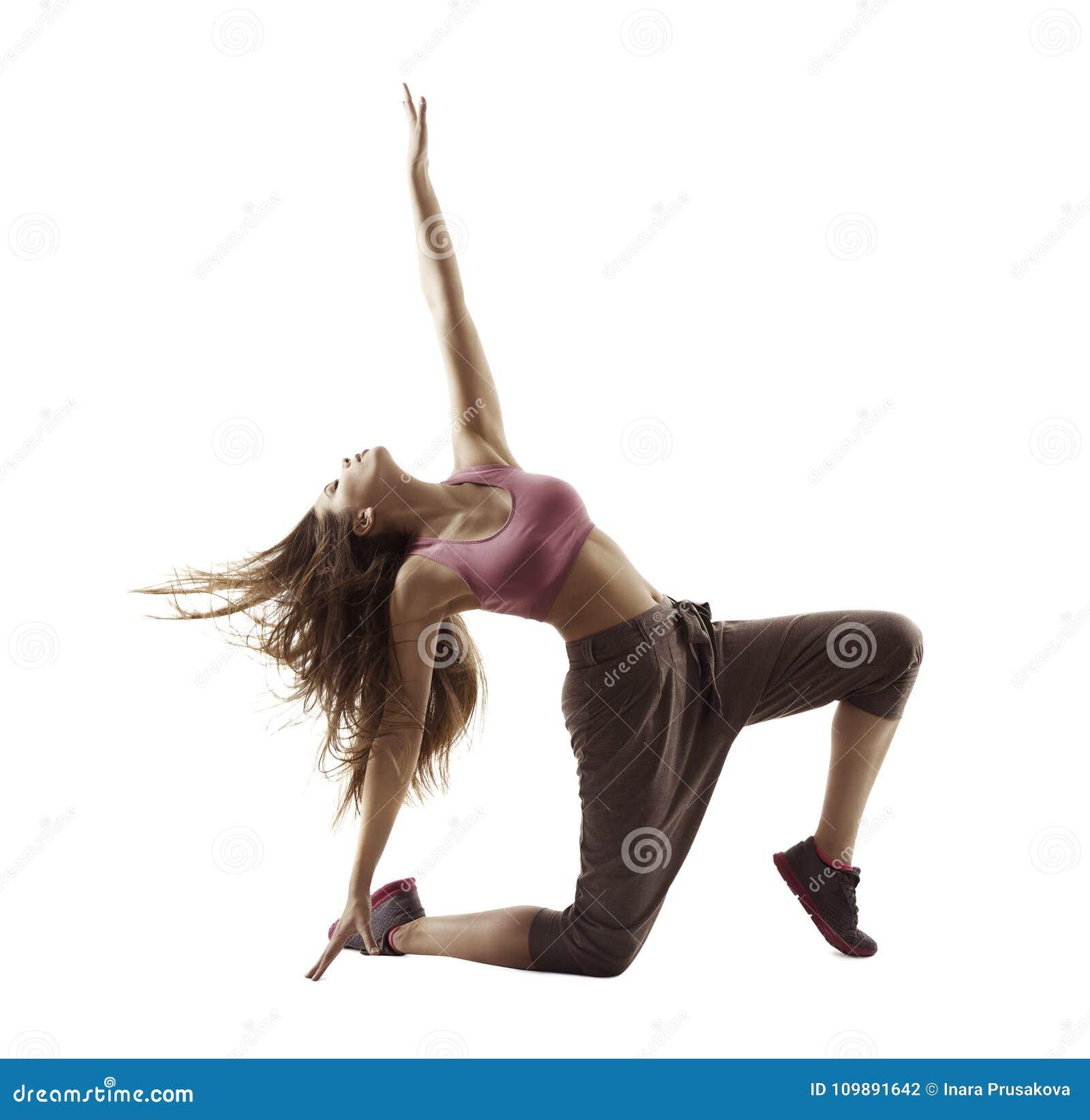 Eignungs-Frauen-Sport-Tanz, Mädchen, das Breakdance gymnastisch tanzt
