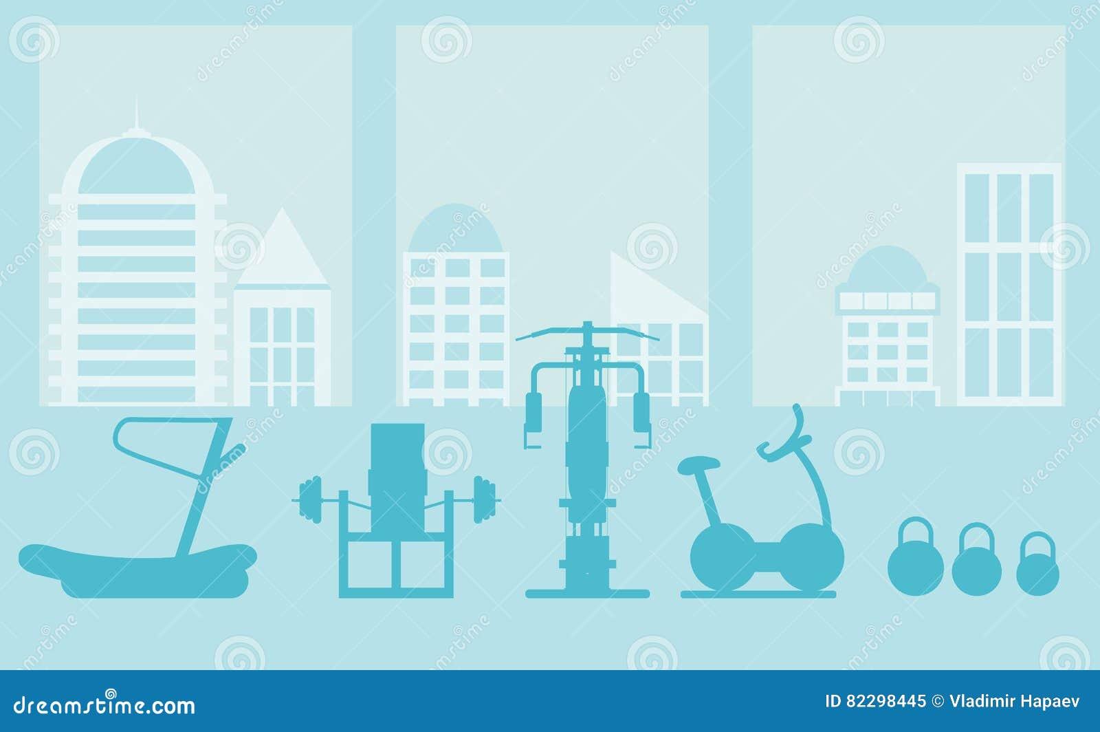 Eignungsturnhallen-Innenschablone mit Sportausrüstungen und Herz Ausrüstung, Hometrainer, Tretmühlen, elliptisch