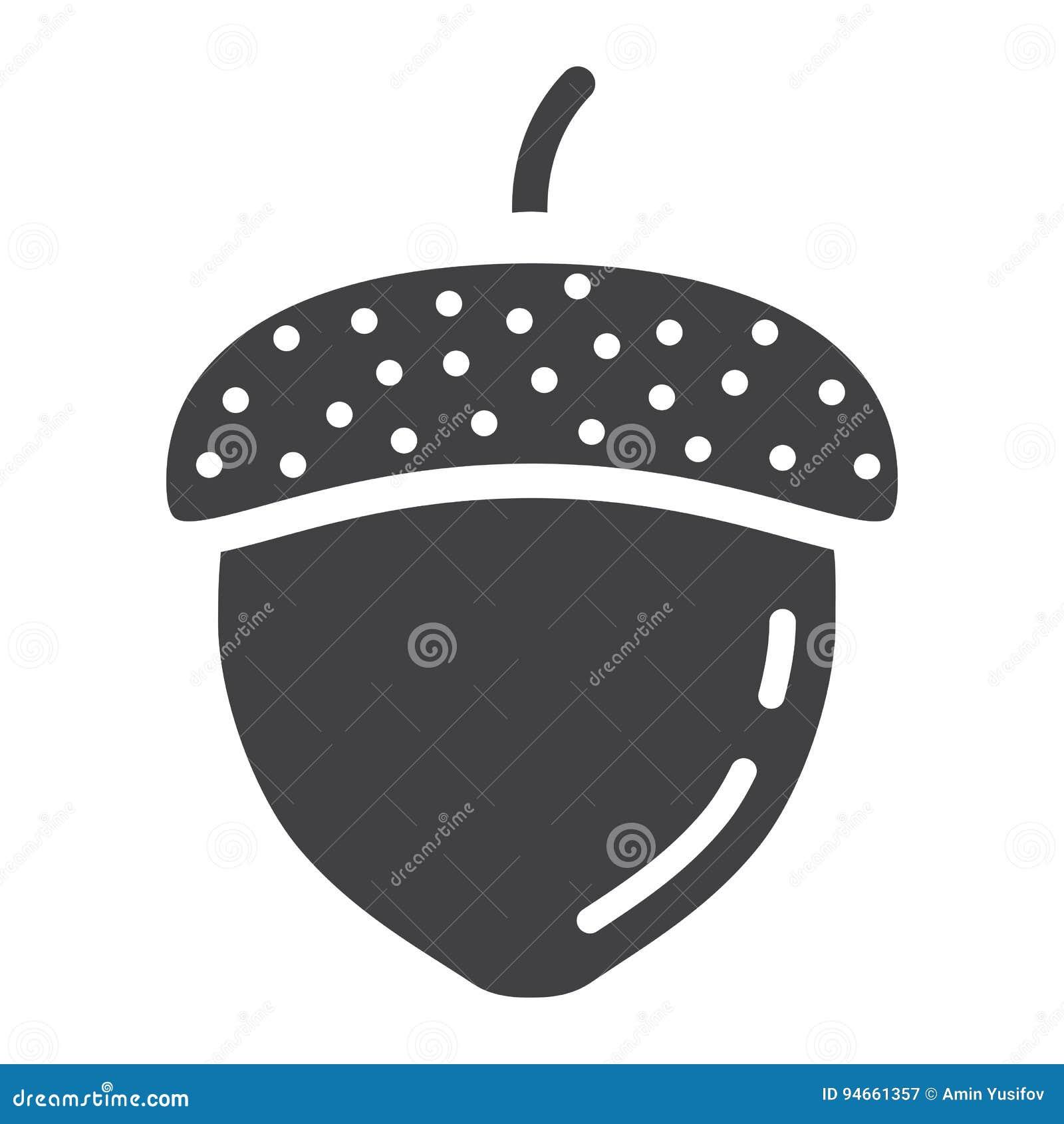 Eikel stevig pictogram, noot en voedsel, vectorgrafiek