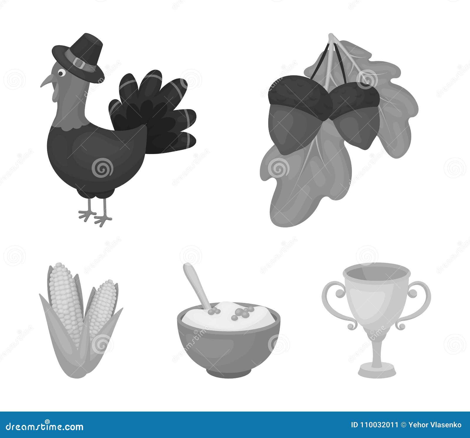 Eikels, graan arthene maak, pictogrammen van de thanksgiving day de vastgestelde inzameling van feestelijk Turkije, Canada in zwa