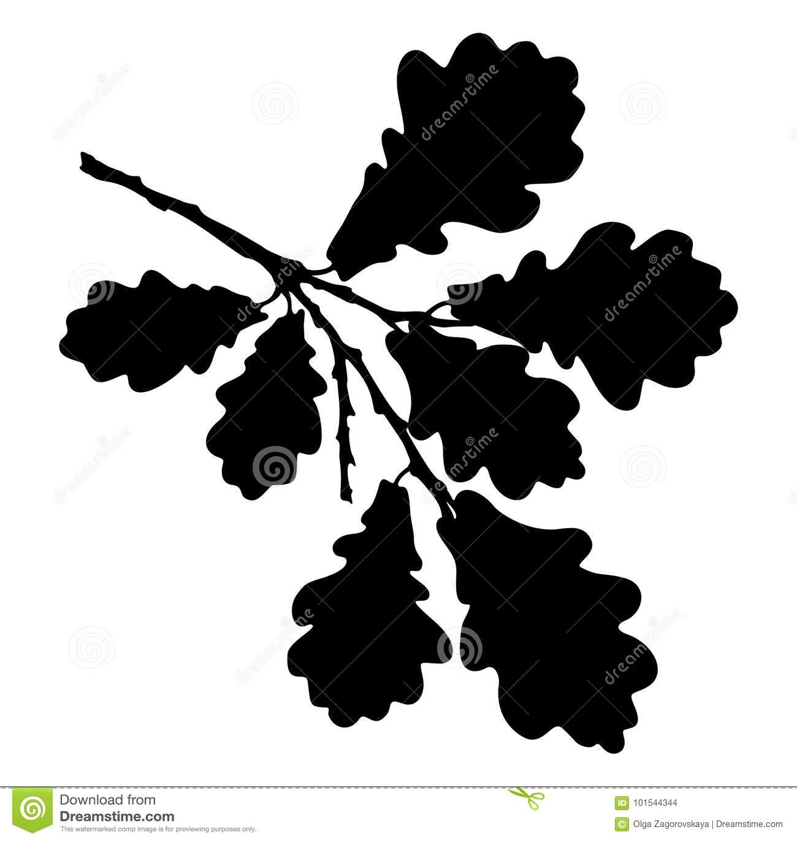 Eiken blad, eikel en tak geïsoleerd silhouet, gestileerde ecologie
