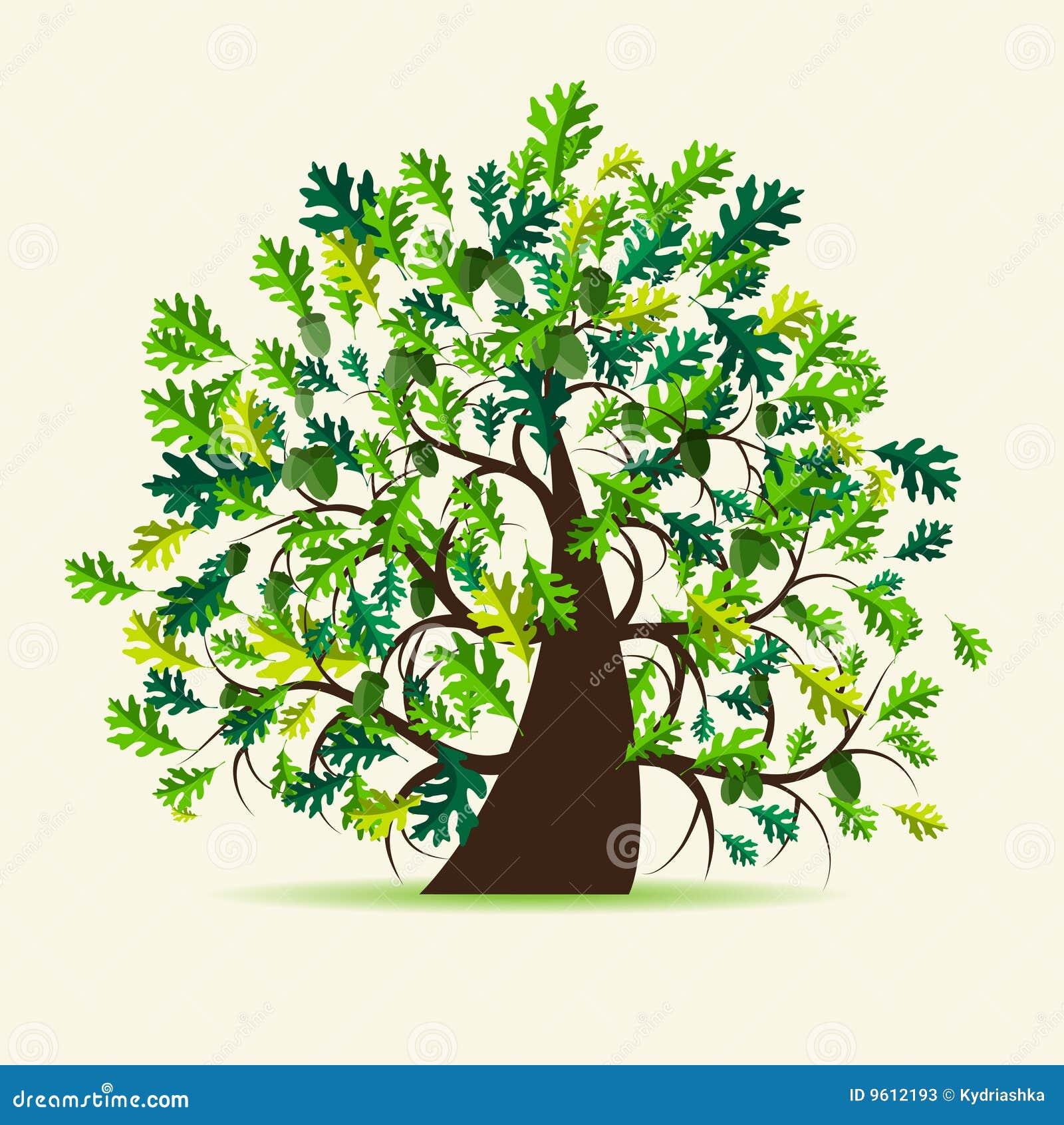 Рисунок дерева дуба с желудями 4