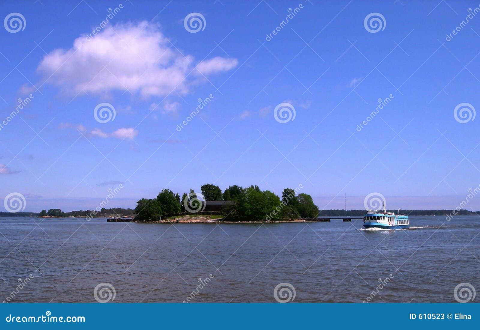 Eiland en schip