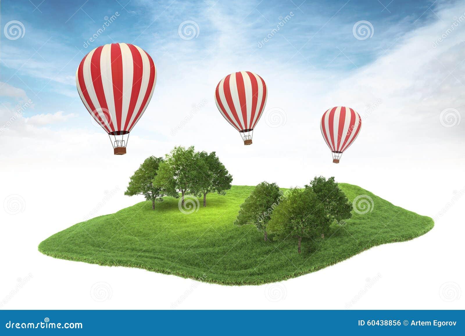 Eilandlap grond met bos en hete luchtballons die I drijven