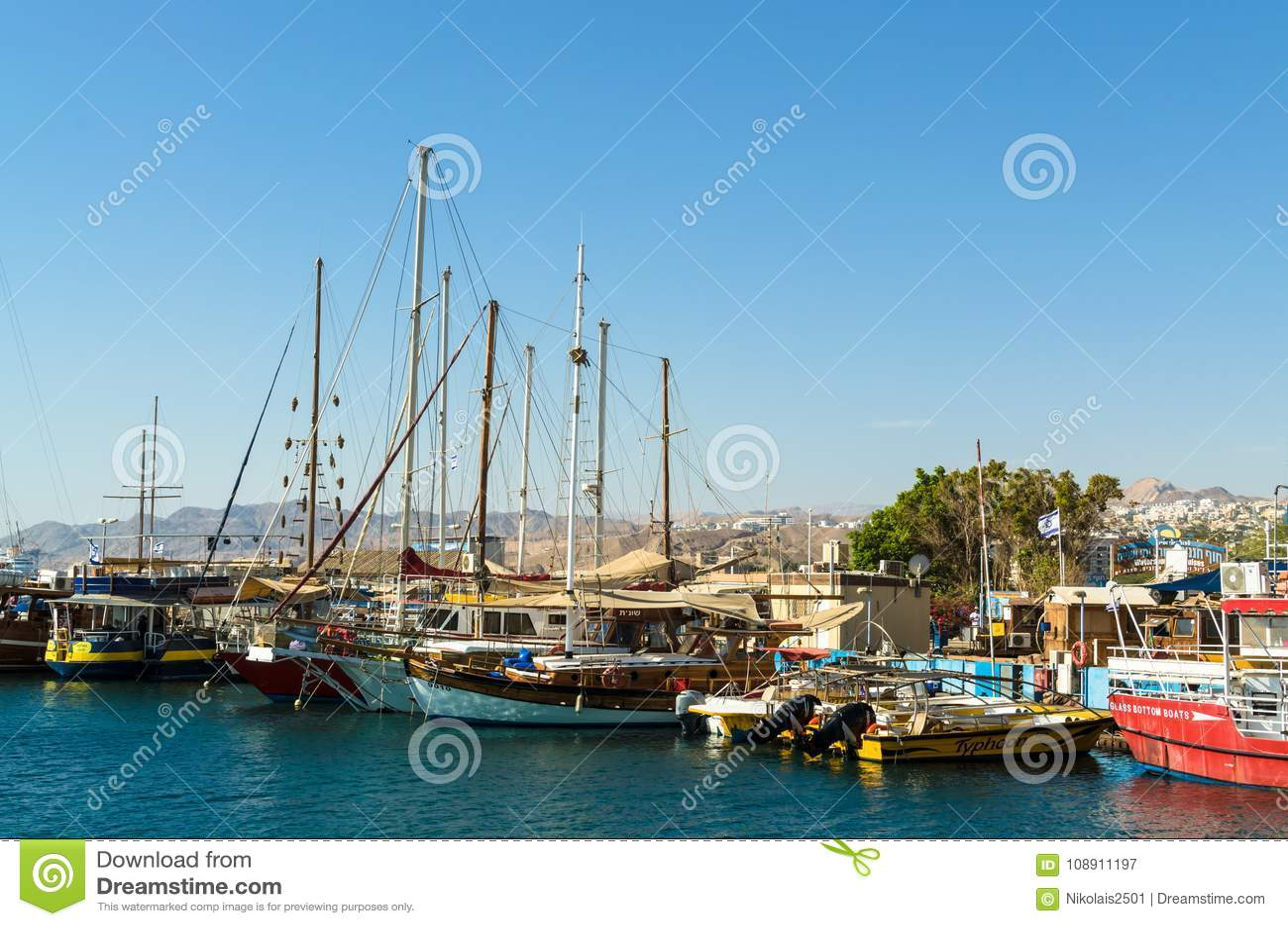 EILAT, ISRAEL – November 7, 2017: Marina with docked yachts and boats