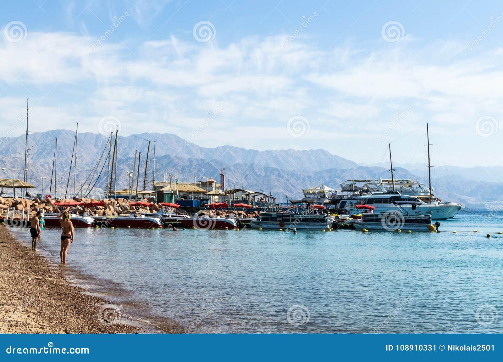 EILAT, ISRAEL – November 7, 2017: Marina with docked yachts