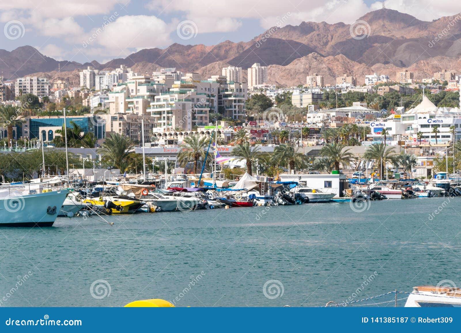 Docked yachts and boats in Eilat marina