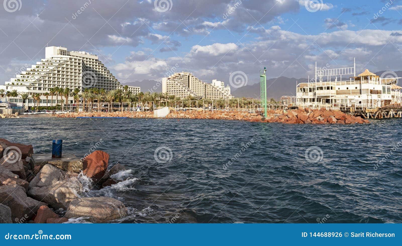 Eilat lagun- och hotellzon i Israel