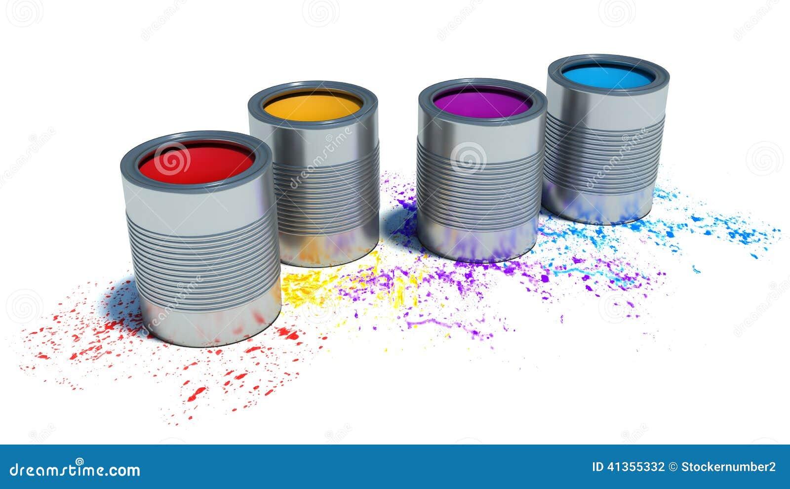 eimer farbe und spray auf wei em hintergrund stock abbildung bild 41355332. Black Bedroom Furniture Sets. Home Design Ideas